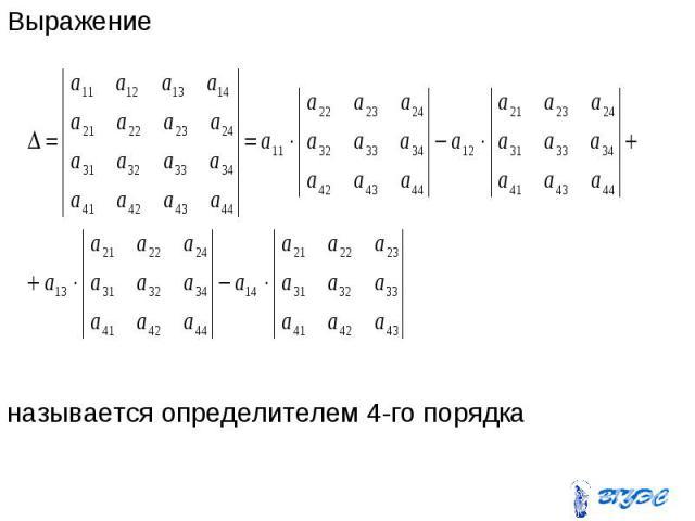 Выражение Выражение называется определителем 4-го порядка