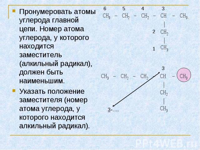 Пронумеровать атомы углерода главной цепи. Номер атома углерода, у которого находится заместитель (алкильный радикал), должен быть наименьшим. Пронумеровать атомы углерода главной цепи. Номер атома углерода, у которого находится заместитель (алкильн…