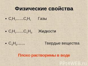 C2H2……C4H6 Газы C2H2……C4H6 Газы C5H8……C15H28 Жидкости C16H30…… Твердые вещества