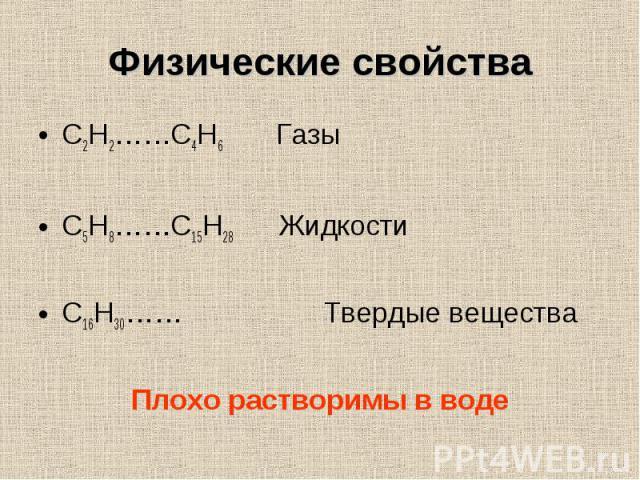 C2H2……C4H6 Газы C2H2……C4H6 Газы C5H8……C15H28 Жидкости C16H30…… Твердые вещества Плохо растворимы в воде