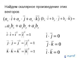 Найдем скалярное произведение этих Найдем скалярное произведение этих векторов =