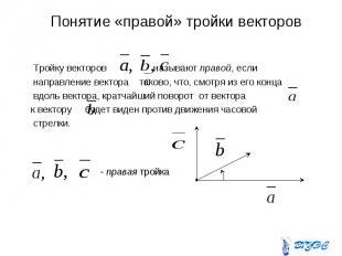 Понятие «правой» тройки векторов Тройку векторов называют правой, если направлен