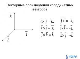 Векторные произведения координатных векторов