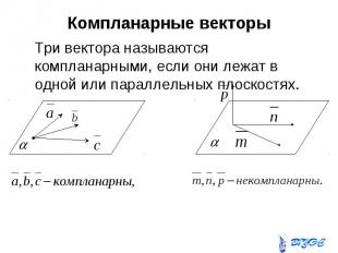 Компланарные векторы Три вектора называются компланарными, если они лежат в одно