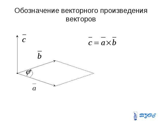 Обозначение векторного произведения векторов