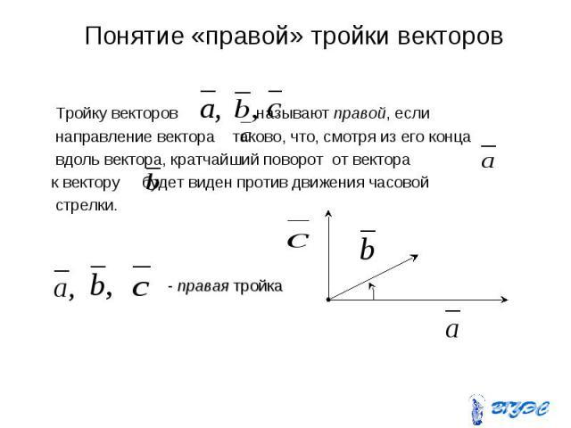 Понятие «правой» тройки векторов Тройку векторов называют правой, если направление вектора таково, что, смотря из его конца вдоль вектора, кратчайший поворот от вектора к вектору будет виден против движения часовой стрелки.