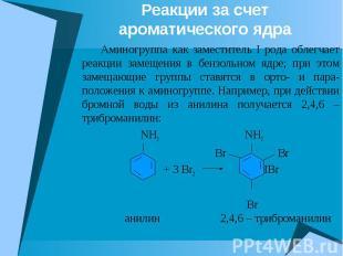 Реакции за счет ароматического ядра Аминогруппа как заместитель I рода облегчает