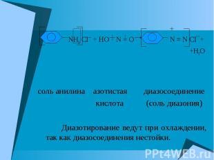 + NH3 Cl¯ + HO N = O N ≡ N Cl¯+ +H2O соль анилина азотистая диазосоединение кисл