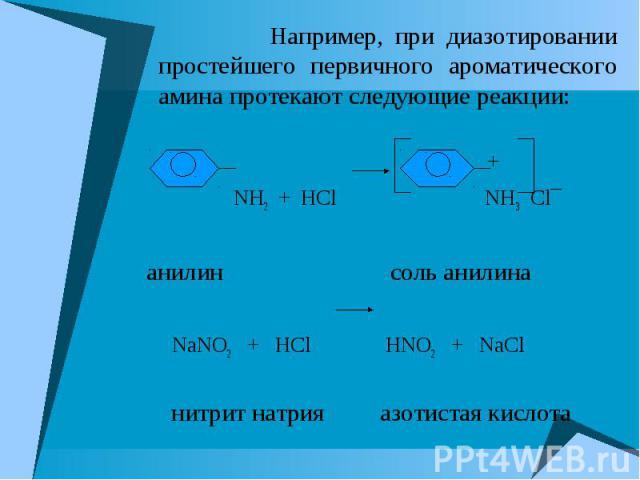Например, при диазотировании простейшего первичного ароматического амина протекают следующие реакции: Например, при диазотировании простейшего первичного ароматического амина протекают следующие реакции: + NH2 + HCl NH3 Cl¯ анилин соль анилина NaNO2…