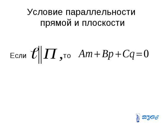Условие параллельности прямой и плоскости Если то