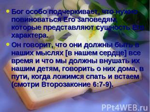 Бог особо подчеркивает, что нужно повиноваться Его заповедям, которые представля