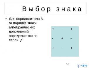 В ы б о р з н а к а Для определителя 3-го порядка знаки алгебраических дополнени