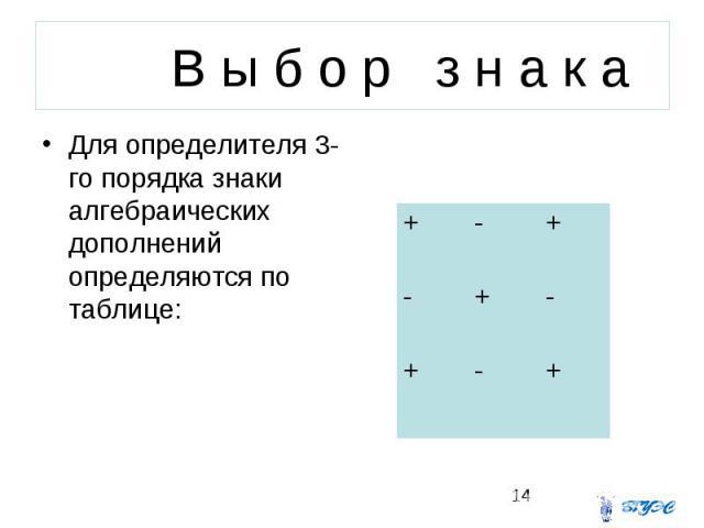 В ы б о р з н а к а Для определителя 3-го порядка знаки алгебраических дополнений определяются по таблице: