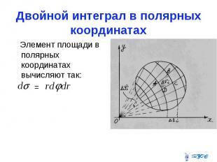 Двойной интеграл в полярных координатах Элемент площади в полярных координатах в