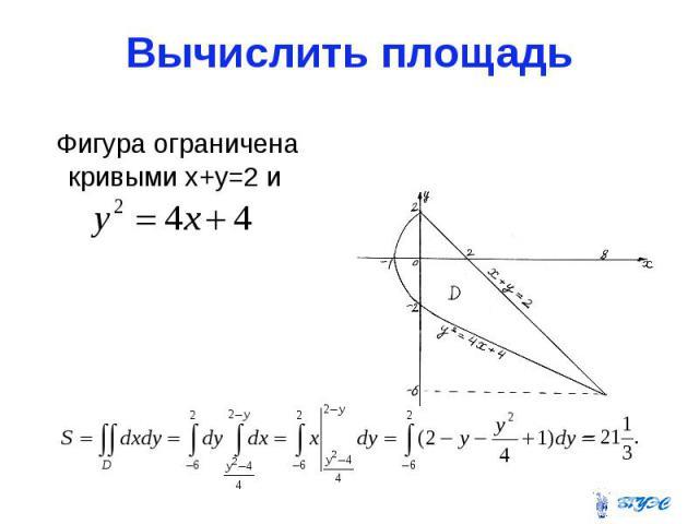 Вычислить площадь Фигура ограничена кривыми х+у=2 и