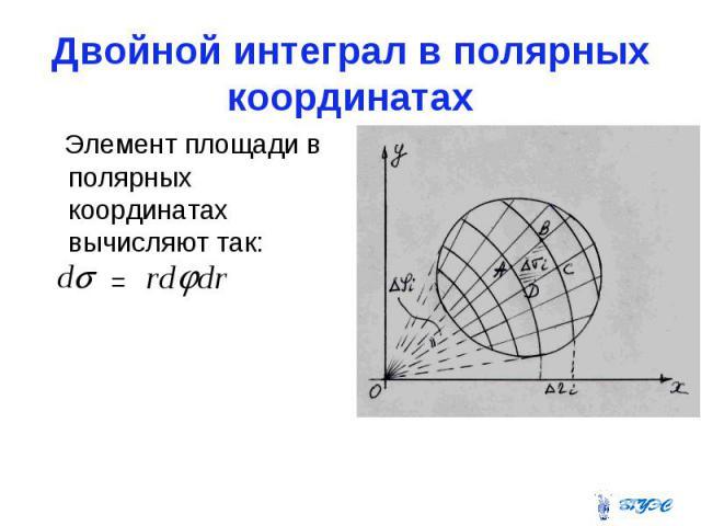 Двойной интеграл в полярных координатах Элемент площади в полярных координатах вычисляют так: =