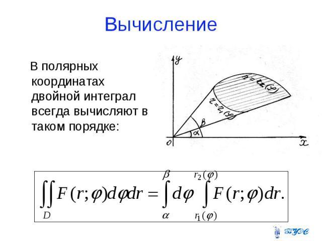 Вычисление В полярных координатах двойной интеграл всегда вычисляют в таком порядке: