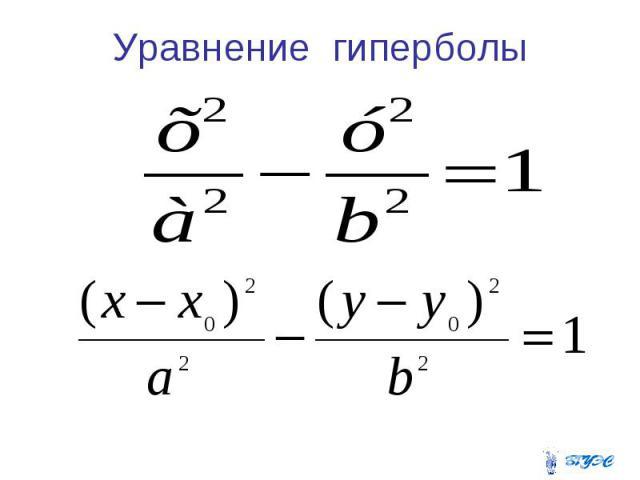 Уравнение гиперболы