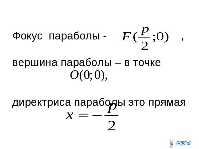 Фокус параболы - , вершина параболы – в точке директриса параболы это прямая