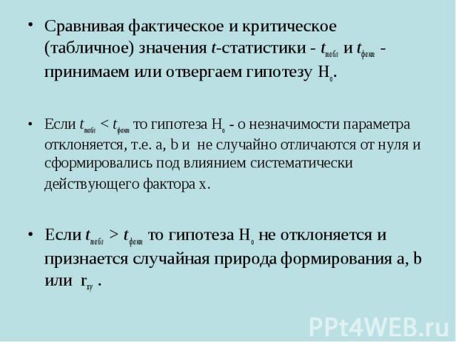 Сравнивая фактическое и критическое (табличное) значения t-статистики - tтабл и tфакт - принимаем или отвергаем гипотезу Но. Сравнивая фактическое и критическое (табличное) значения t-статистики - tтабл и tфакт - принимаем или отвергаем гипотезу Но.…