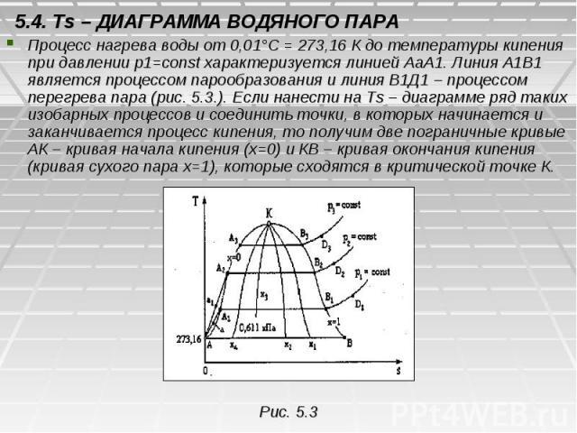 5.4. Ts – ДИАГРАММА ВОДЯНОГО ПАРА Процесс нагрева воды от 0,01°С = 273,16 К до температуры кипения при давлении р1=const характеризуется линией АаА1. Линия А1В1 является процессом парообразования и линия В1Д1 – процессом перегрева пара (рис. 5.3.). …