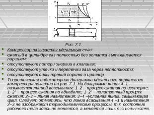 Рис. 7.1. Рис. 7.1. Компрессор называется идеальным если: сжатый в цилиндре газ