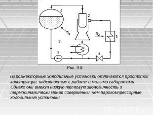 Рис. 9.8. Пароэжекторные холодильные установки отличаются простотой конструкции,