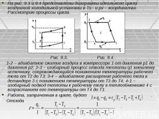 На рис. 9.3 и 9.4 представлены диаграммы идеального цикла воздушной холодильной