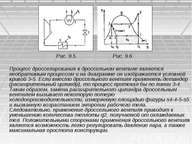Рис. 9.5. Рис. 9.6. Процесс дросселирования в дроссельном вентиле является необратимым процессом и на диаграмме он изображается условной кривой 3-5. Если вместо дроссельного вентиля применять детандер (расширительный цилиндр), то процесс протекал бы…