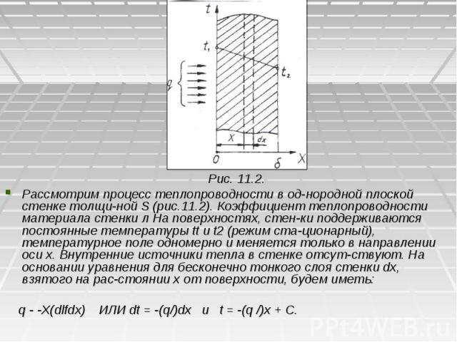 Рис. 11.2. Рис. 11.2. Рассмотрим процесс теплопроводности в однородной плоской стенке толщиной S (рис.11.2). Коэффициент теплопроводности материала стенки л На поверхностях, стенки поддерживаются постоянные температуры tt и t2 (режим …