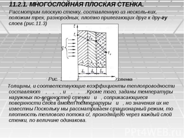 11.2.1. МНОГОСЛОЙНАЯ ПЛОСКАЯ СТЕНКА. 11.2.1. МНОГОСЛОЙНАЯ ПЛОСКАЯ СТЕНКА. Рассмотрим плоскую стенку, составленную из несколь-ких, положим трех, разнородных, плотно прилегающих друг к дру-гу слоев (рис.11.3) Рис. 11.3. Многослойная плоская стенка Тол…