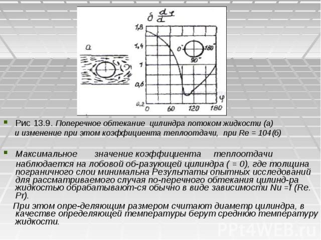 Рис 13.9. Поперечное обтекание цилиндра потоком жидкости (а) Рис 13.9. Поперечное обтекание цилиндра потоком жидкости (а) и изменение при этом коэффициента теплоотдачи, при Re = 104(б) Максимальное значение коэффициента теплоотдачи наблюдается на ло…