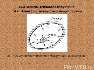 14.3 Законы теплового излучения 14.4. Лучистый теплообмен между телами Рис. 15.8