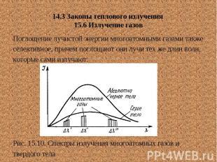 14.3 Законы теплового излучения 15.6 Излучение газов Поглощение лучистой энергии
