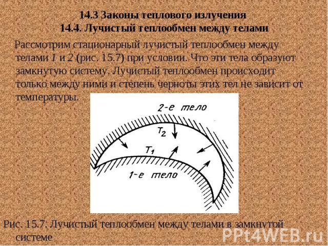 14.3 Законы теплового излучения 14.4. Лучистый теплообмен между телами Рассмотрим стационарный лучистый теплообмен между телами 1 и 2 (рис. 15.7) при условии. Что эти тела образуют замкнутую систему. Лучистый теплообмен происходит только между ними …