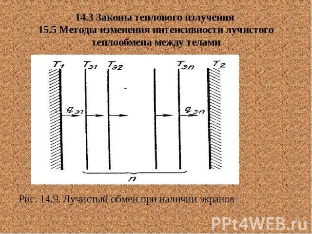 14.3 Законы теплового излучения 15.5 Методы изменения интенсивности лучистого теплообмена между телами Рис. 14.9. Лучистый обмен при наличии экранов