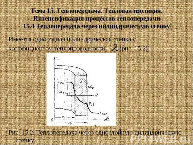 Тема 15. Теплопередача. Тепловая изоляция. Интенсификация процессов теплопередачи 15.4 Теплопередача через цилиндрическую стенку Имеется однородная цилиндрическая стенка с коэффициентом теплопроводности (рис. 15.2). Рис. 15.2. Теплопередача через од…