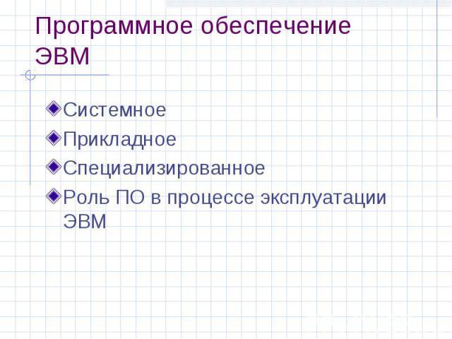 Программное обеспечение ЭВМ Системное Прикладное Специализированное Роль ПО в процессе эксплуатации ЭВМ