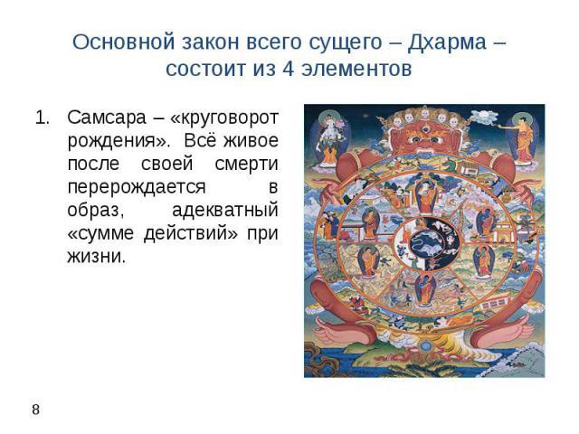 Самсара – «круговорот рождения». Всё живое после своей смерти перерождается в образ, адекватный «сумме действий» при жизни. Самсара – «круговорот рождения». Всё живое после своей смерти перерождается в образ, адекватный «сумме действий» при жизни.