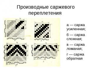 Производные саржевого переплетения а — саржа усиленная; б — саржа сложная; в — с