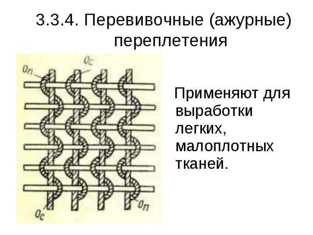 3.3.4. Перевивочные (ажурные) переплетения Применяют для выработки легких, малоплотных тканей.