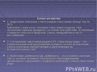 Блоки алгоритма 1. Выделение ключевых слов в каждом смысловом абзаце текста (КС)