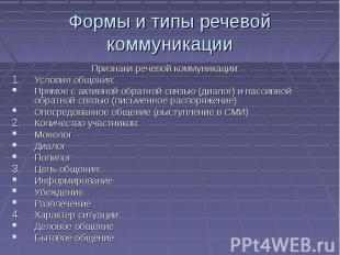 Формы и типы речевой коммуникации Признаки речевой коммуникации: Условия общения