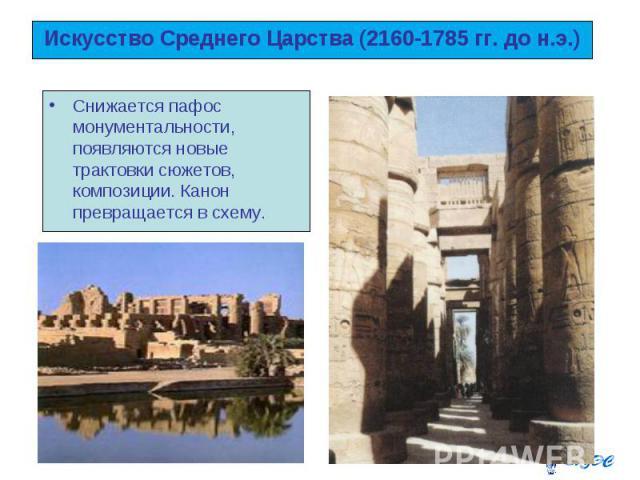Искусство Среднего Царства (2160-1785 гг. до н.э.) Снижается пафос монументальности, появляются новые трактовки сюжетов, композиции. Канон превращается в схему.