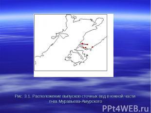 Рис. 3.1. Расположение выпусков сточных вод в южной части п-ва Муравьева-Амурско
