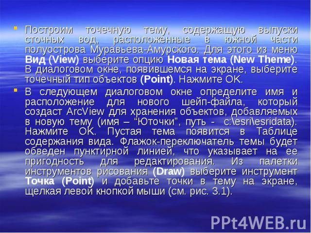 Построим точечную тему, содержащую выпуски сточных вод, расположенные в южной части полуострова Муравьева-Амурского. Для этого из меню Вид (View) выберите опцию Новая тема (New Theme). В диалоговом окне, появившемся на экране, выберите точечный тип …