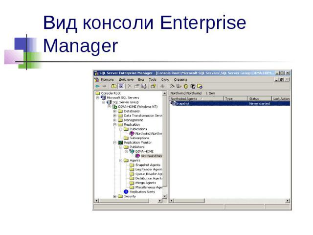 Вид консоли Enterprise Manager