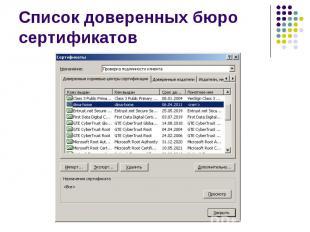 Список доверенных бюро сертификатов