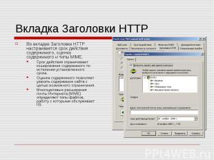 Вкладка Заголовки HTTP Во вкладке Заголовки HTTP настраивается срок действия сод
