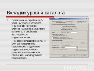 Вкладки уровня каталога Возможна настройка веб-узла на уровне каталога. Изменени